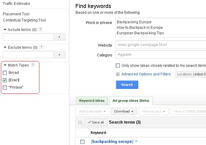 exact-in-google-keyword-tool