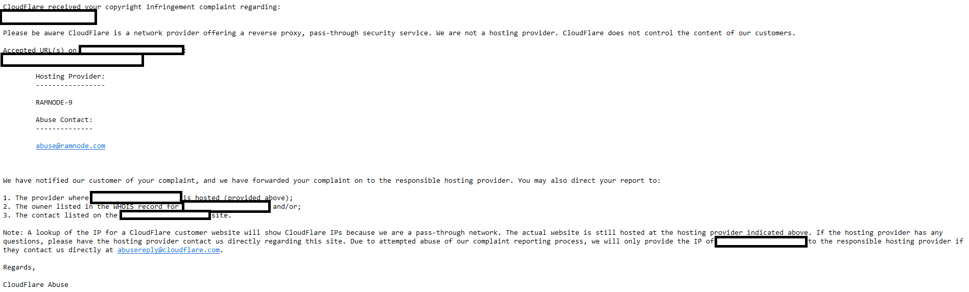 cloudflare response