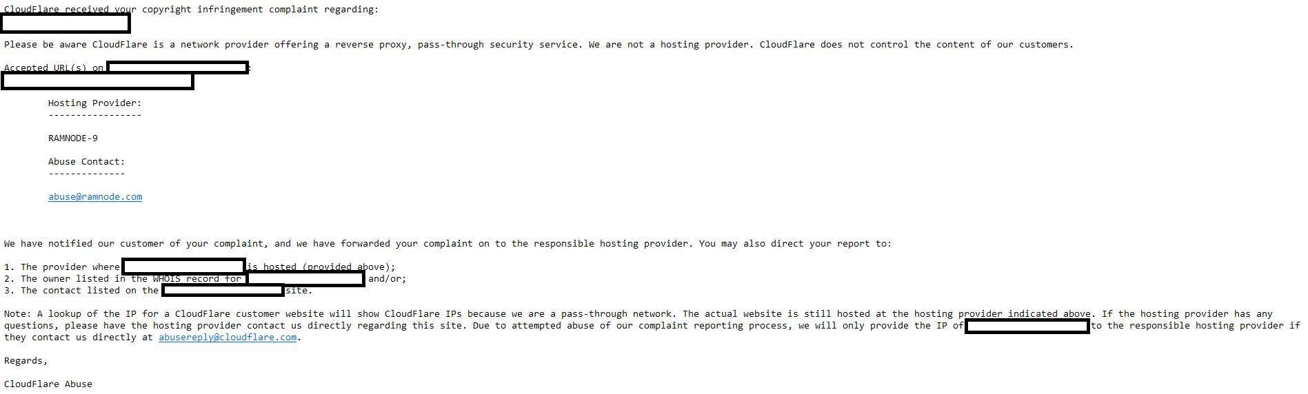 cloudflare response